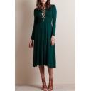 Cross Tie Front Green Long Sleeve Midi Dress