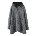 Hooded Patchwork Long Sleeve Zipper Long Gray Cardigan