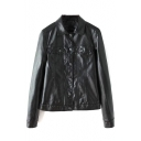 Lapel Long Sleeve Single Breasted Double Pockets PU Jacket