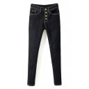 High Waist Plain Button Fly Velvet Plus Skinny Jeans