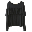 Ruffle Hem Long Sleeve Plain Model Tee