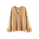 V-Neck Plain Turn Up Sleeve Hem Pullover Sweater