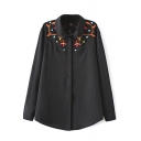 Floral Embroidery Button Down Lapel Long Sleeve Shirt