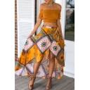 Tie Waist Tribal Print Asymmetrical Maxi Skirt