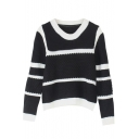 Round Neck Long Sleeve Stripes Trims Sweater