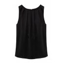 Womens Sleeveless Tops Chiffon Round Neck Pleated Blouse T-Shirt