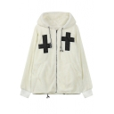 Hooded Zip Up Long Sleeve Patchwork Coat