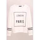 Letter Print Stripe Trims Long Sleeve Sweatshirt