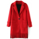 Notched Lapel Single Button Long Sleeve Plain Coat