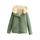 Zipper Long Sleeve Plain Hooded Padded Coat