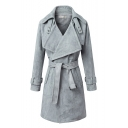 Belt Waist Notched Lapel Open Front Long Coat