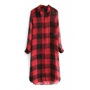 Button Down Long Sleeve Plaid Maxi Shirt Dress