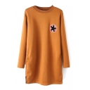 Round Neck Long Sleeve Star Patchwork Knit Dress