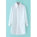 Lapel Long Sleeve Button Down Long White Shirt