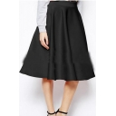 Plain Midi A-Line High Waist Skirt