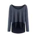 Scoop Neck Long Sleeve Color Block Patchwork High Low Sweater