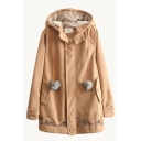 Hooded City Cartoon Embroidery Fur Ball Detail Long Tweed Coat
