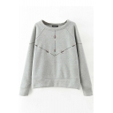 Round Neck Raglan Sleeve Arrows Embroidery Fleece Sweatshirt