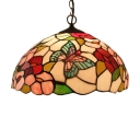 Country Style Flower and Butterfly Stained Glass Tiffany 12 Inch Hanging Pendant