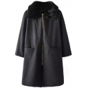 Fur Lapel Zipper Plain Double Pockets Long Tweed Coat