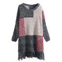 Round Neck Patchwork Long Sleeve Tassel Knit Dress