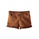 Zipper Fly Belt Waist Tassel Hem Suede Hot Shorts