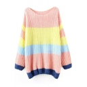 Scoop Neck Long Sleeve Color Block Long Sweater