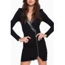 Zipper Detail Long Sleeve V-Neck Bodycon Mini Dress