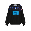 Heart Letter Print Long Sleeve Black Sweatshirt