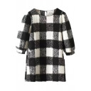 Round Neck Half Sleeve Plaid Button Back Dress