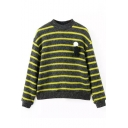 Round Neck Long Sleeve Stripes Sweater with Brooch