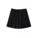 Elastic Waist Loose Plain Pleated Skort