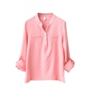 Pink Long Sleeve Button Detail Blouse