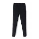 Plain Elastic Waist Velvet Plus Skinny Pants