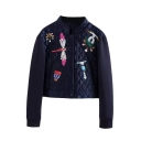 Stand Up Neck Cartoon Embroidery Cropped Padded Coat