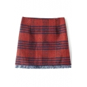 Plaid Tassel Hem Bodycon Tweed Mini Skirt