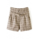 High Waist Zip Back Plaid Belt Loose Shorts