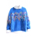 Mohair Colored Tassel Long Sleeve Sweater