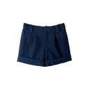 High Waist Turn Up Tweed Zipper Fly Shorts