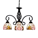 Tiffany Three-light Chandelier with Pink Rose Pattern