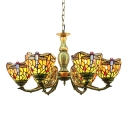 Tiffany Traditional Style 30 Inch Wide Chandelier Ceiling Light with Dragonfly Pattern
