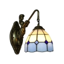 Blue and White Grid Pattern 6 Inch Mermaid Wall Sconce in Tiffany Stained Glass Style