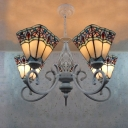 4 Lights Wrought Iron 24 Inches Tiffany Chandelier for Living Room in White Finish