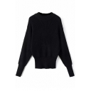 Plain Long Sleeve Elastic Wrist & Waist Sweater