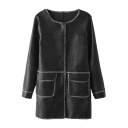 Long Sleeve Single Breasted Double Pockets PU Coat