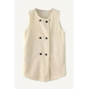 Double Breasted Sleeveless Plain Vest
