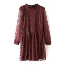 Round Neck Long Sleeve Smock Lace Dress