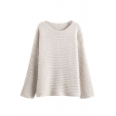 Round Neck Long Sleeve Plain Pullover Sweater