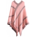 V-Neck Tassel Stripe Trims Cape
