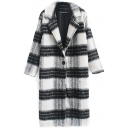Notched Lapel Long Sleeve Plaid Single Breasted Coat